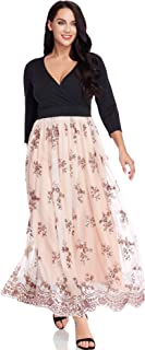 Women's Plus Size Sequin 3/4 Sleeves Evening Gown Party Long Maxi Dress
