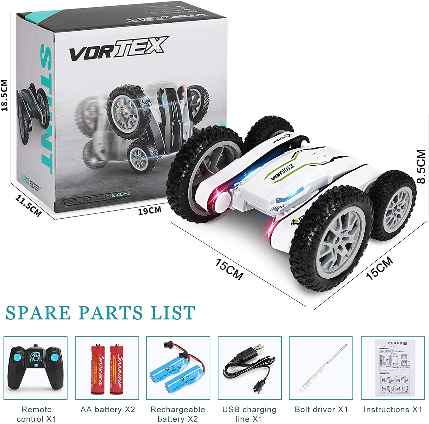 Remote Control Car High Speed Toy Car for Boys Boys Toys for 6-12 Years Old Kids Birthday Xmas Gift with All Batteries Double Sides 360/° Rotating RC Race Car with Headlights RC Cars Stunt Car Toys