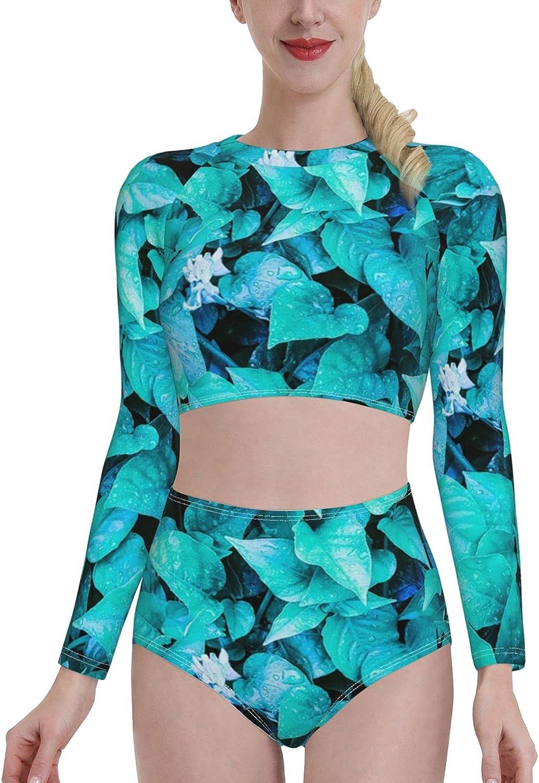 Leafy Background Women's Long Sleeve Swimsuit Set Rash Guard Swimsuit Two-Piece Swimming Split Top Swimsuit