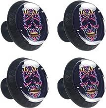 4 stuks lade knop kast kast handvat pull lade handvat met schroef, neon kleurrijke schedel