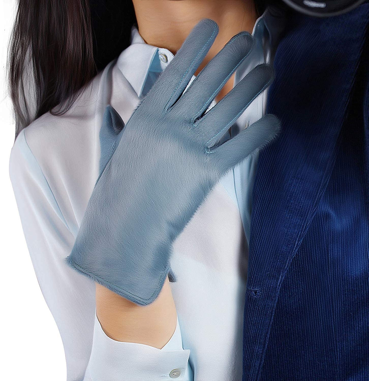 DooWay Women Winter Warm Real Leather Gloves Short Fur Velvet Lined Fashion Evening Wearing