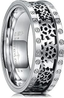 THREE KEYS JEWELRY 8mm Steampunk Titanium Gear Wheel Pinion Bolts Ring Black Zirconium Wedding Band Rivet