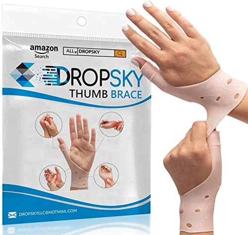 DropSky [4pcs] Gel Wrist Thumb Support Braces Soft Waterproof Breathable, Relief Pain Carpal Tunnel, Arthritis Thumb, Fits Both Hands, Lightweight, Therapy Rubber-Latex, Stabilizer Support (Nude)