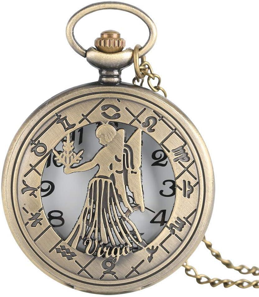 WYBD.Y Reloj de Bolsillo preciso Virgo Collar Signo del Zodiaco Relojes de Bolsillo de Cuarzo Antiguos Astrología Colgante Cumpleaños para Agosto y septiembre Regalo Hombres Mujeres Bebé