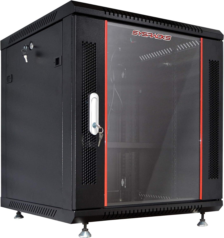 Server Rack – 12U - Wall Mount Rack - Locking Cabinet for Network - Electronics - Security - Audio - Video - AV Equipment - Data Rack - Legs/Power Strip/Shelf/Fan - 18-Inch Deep Sysracks