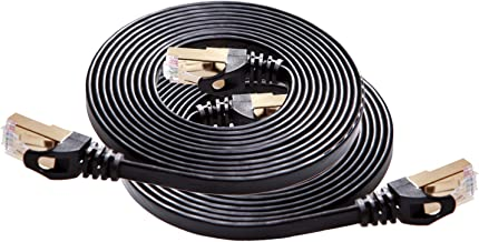 Cat 7 Shielded Ethernet Cable 8ft 2pack (Highest Speed Cable) Cat7 Black Flat Internet Network Cables, for Modem, Router, LAN, Computer