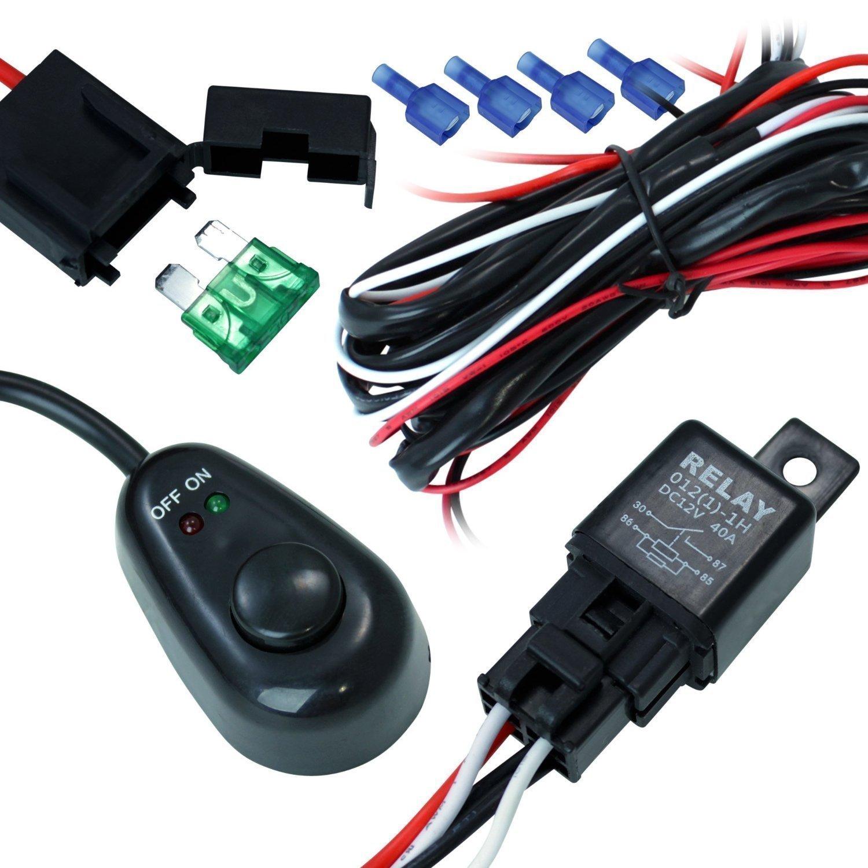 amazon.com: #1 fog light 40 amp universal wiring harness on the market!  comes w/relay on/off switch connectors great for led work lights, fog lights  atv utv truck suv polaris razor rzr yamaha  amazon.com