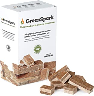 GreenSpark Fire Starter 160 Squares, All-Natural, Fireplace, Campfire, Fire Pit, Grill, BBQ Smoker, Wood & Pellet Stove, Indoor & Outdoor, All-Weather, Super Fast Lighting