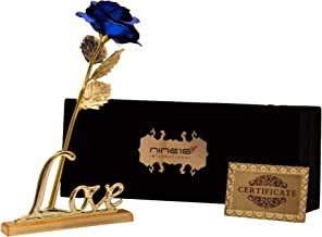NINE10 Blue Rose 24K Gold Foil/Gold Plated Rose with Exclusive Velvet Gift Box and Love Stand