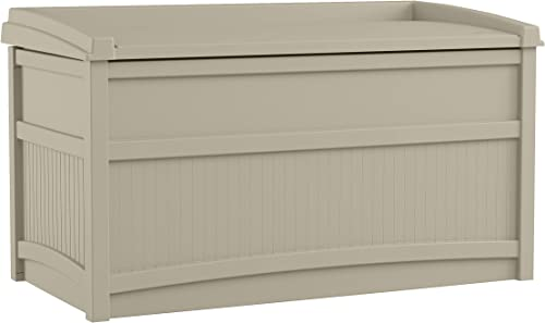 Suncast 50 Gallon Box Small Waterproof Outdoor Storage Container for Gardening Tools, Athletic Equipment and More Sto...