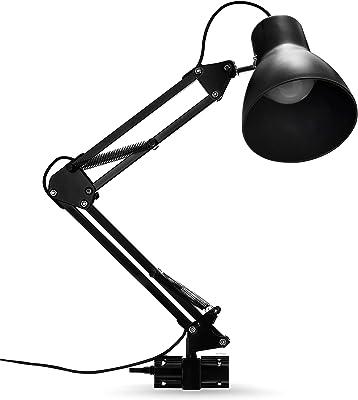 Lámpara de escritorio, brazo articulado de metal, lámpara de mesa ajustable, lámpara de oficina con base y pinza con conector C, lámpara de lectura respetuosa con los ojos, lámpara de trabajo