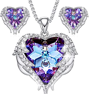 PANDA100 Angel Wing Swarovski Jewelry Set Women Jewelry 18K White Gold Plated Crystals Heart Pendant Necklace Earrings Sets, Gifts for Valentine's Day