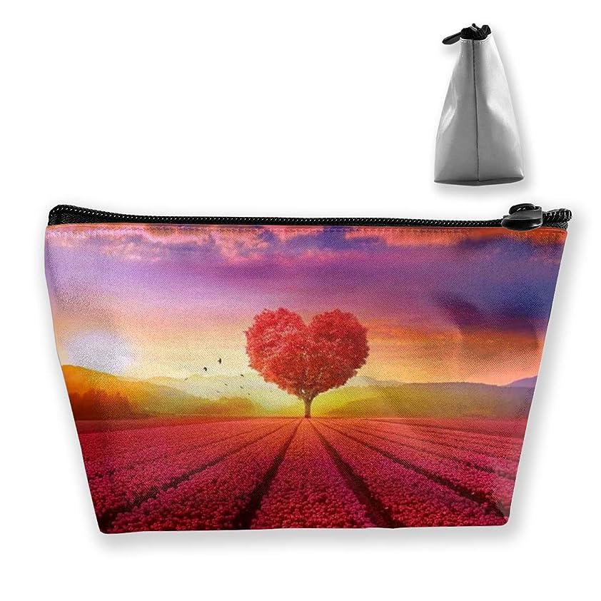 故意の四面体ファイナンスSzsgqkj フィールドに赤いハートツリー 化粧品袋の携帯用旅行構造の袋の洗面用品の主催者