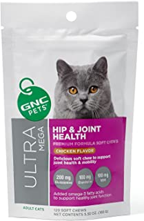 Hip & Joint Health Premium Soft Chews For Adult Cats Yummy Chicken Flavor 120 Count by GNC ULTRA MEGA