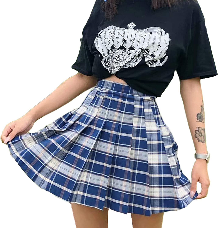 Women High Waisted Plaid Pleated Skirt A-Line Mini Short Skirt School Uniform Daily Casual Tennis Skater Skirt