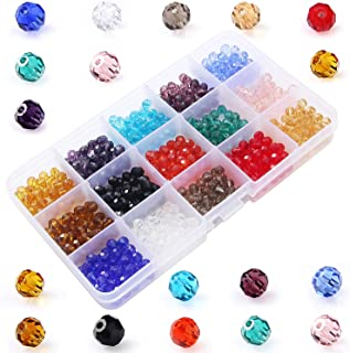 Faceted Glass Crystal Beads Bulk-6MM Round Ball Glass Beads Loose Beading 15 Colors 750pcs Box Packing for DIY Jewelry Beads Accessories ZHUBI