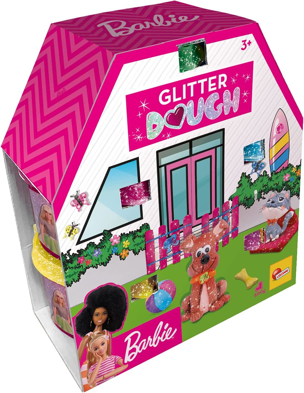 Lisciani, Barbie Glitter Dough Kit Casa, 5 Botes en Forma de corazón, Plastilina con Purpurina, Pack 5 x 100 g, 88850-Juego Creativo para niñas a Partir de 3 años, Multicolor (88850)