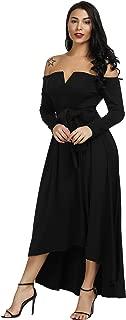 Women Off Shoulder Dress - Elegant Long Sleeve Formal Party High Low Maxi Dress with Belt