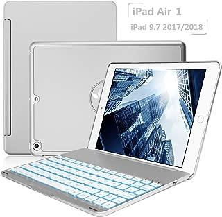 Keyboard Case iPad 9.7 2018(6th Gen) - iPad 9.7 2017(5th Gen) - iPad Air 1-130 Rotating - 7 Color Backlit Keyboard -Thin & Light - iPad Case with Keyboard, (Silver, 9,7)