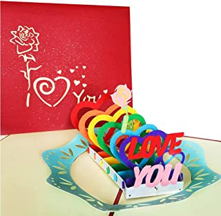 3D Love Pop Up Card and Envelope - Romantic Unique Pop Up Greeting Cards for Birthday, Christmas, New Year, Anniversary, Valentine, Wedding, Graduation, Thank You. Love Letters I Love You Hearts
