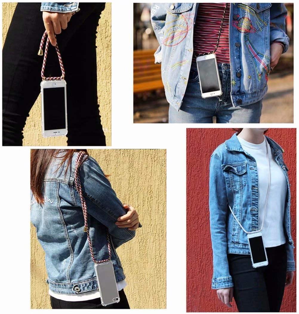2ndSpring Funda con Cuerda Compatible con Samsung Galaxy A41,Colgante Collar Correa de Cuello Cadena Cord/ón,Arcoiris Amarillo
