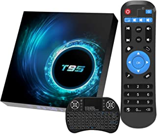 Android 10.0 TV Box, T95 Android TV Box 4GB RAM 64GB ROM Quad-Core H616 Chip Support 6K Full HD 2.4G/5G Dual-Band Wi-Fi /B...