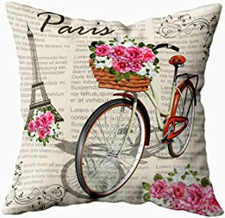 Musesh Decorative Pillow Covers,Sofa Zip Pillow Covers, Paris Vintage Background for Sofa Home Decorative Pillowcase 20X20Inch Pillow Covers