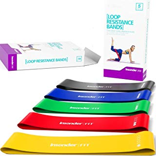 Insonder Resistance Bands Set - 5 Latex Exercise Loop Bands for Workout and Stretching for Legs Butt Glutes Yoga Crossfit Fitness Physical Therapy Mini Home Equipment Training for Women Men