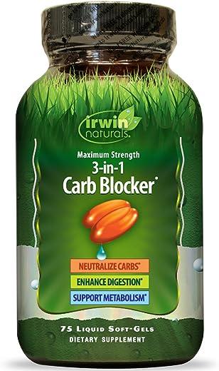 Irwin Naturals, 3-in-1 Carb Blocker, Maximum Strength, 75 Liquid Soft-Gels