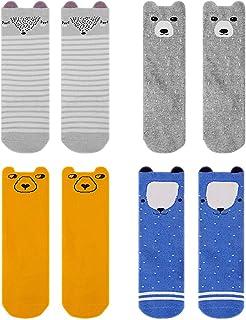 4 paquetes de medias hasta la rodilla para bebés, calcetines hasta la rodilla Cartoon antideslizantes para bebés y niños pequeños