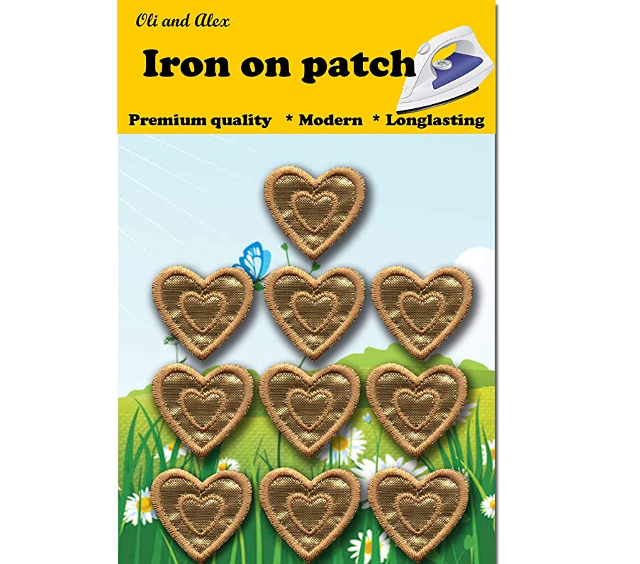 Iron On Patches - Gold Heart Patch 10 pcs Iron On Patch Embroidered Applique1.29 x 1.22 inches (3.2 x 3.1 cm) A-196