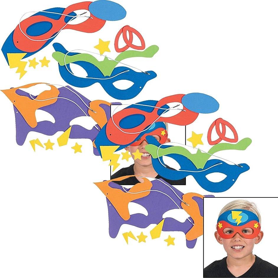Fun Express Superhero Masks Craft Kits (Makes 24) Self-Adhesive Foam Each 8 1/2