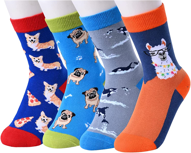 SOCKFUN Boys Socks 4-10 Ranking TOP17 Years Dedication Space Animal Shark Funny Novelty