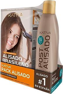 Pack ahorro Kativa Kit Alisado Brasileño con Champú Post Alisado - Tratamiento Alisado Profesional en casa - Hasta 12 Sema...
