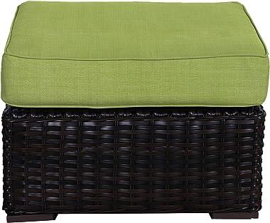 Envelor Santa Monica Outdoor Patio Furniture Durable Wicker Rattan Ottoman Stool Foot Rest Includes Parrot Sunbrella Cushions