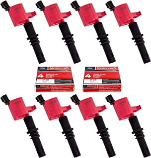 Set of 8 Red Straight Boot Ignition Coils DG511 and Motorcraft SP515 SP546 Spark Plu for Ford Lincoln Mercury V8 V10 4.6l 5.4l 6.8l Compatible with 3L3E12A366CA 5C1584 C1541 FD-508 DG511 RED DG-511