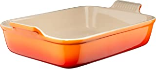 Le Creuset Heritage Stoneware Rectangular Dish, 7-by-5-Inch, Flame