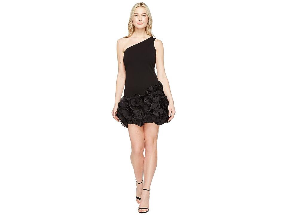 Jessica Simpson One Shoulder Ruffle Hem Dress (Black) Women