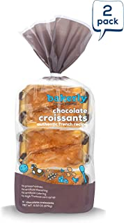 bakerly Chocolate Croissants with Real Chocolate, Non GMO, Free from Artificial Flavors & Colors, Pack of 2, 6-count (12 Total Chocolate Croissants)