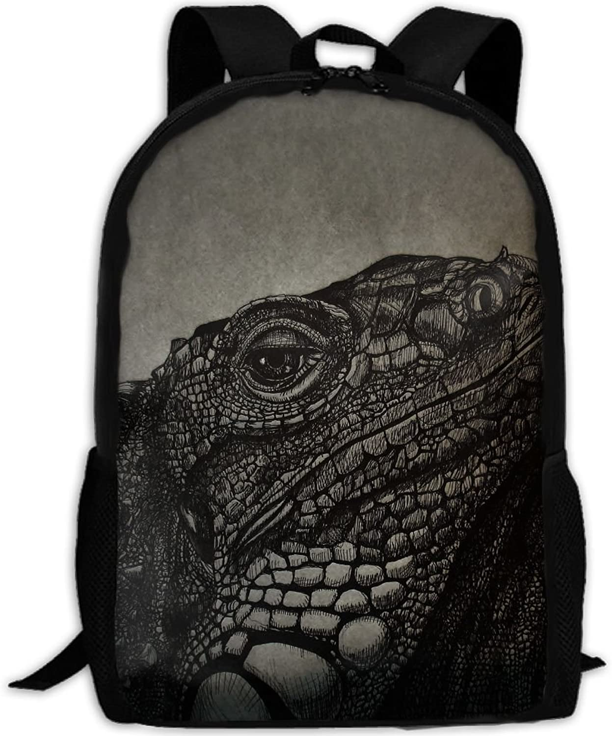 Backpack Laptop Travel Hiking School Bags Lizard Chameleon Daypack Shoulder Bag