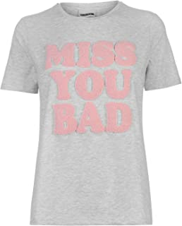 Noisy May Hayden Miss You Bad T-Shirt Womens Grey Top Tee Shirt Casual Wear