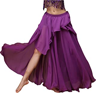 Wuchieal Woman Belly Dance Skirt Belly Dancing Costume Split Tribal Maxi Full Skirts Middle Eastern Dance Slit skirt