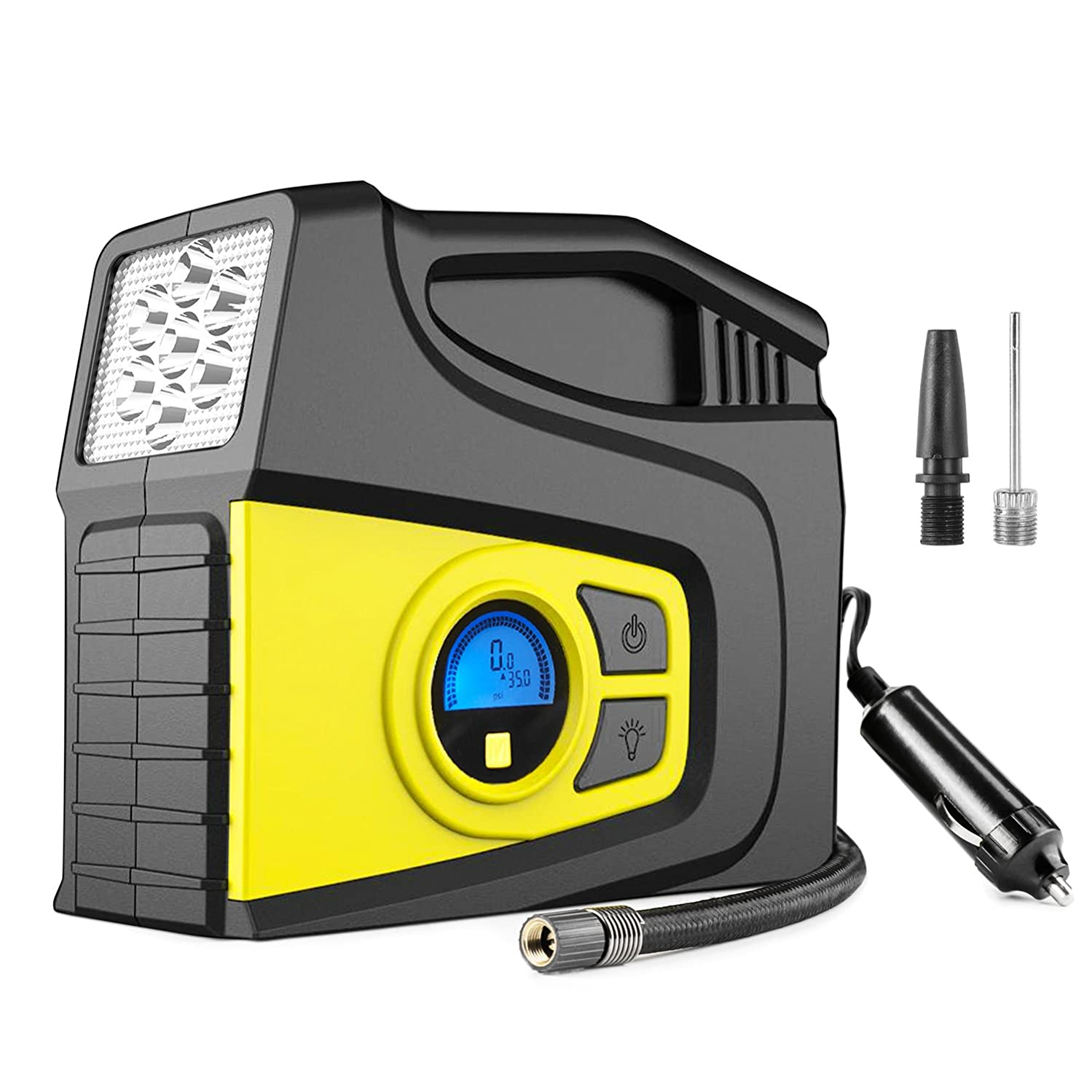 Balight Auto Digital Tire Inflator 12V 120PSI - Portable Air Compressor Pump with Pressure Gauge and 3 Modles Emergency Lighting for Car, SUV, Trunk, Motorcycle, Bicycle, Ball,and Others Inflatables