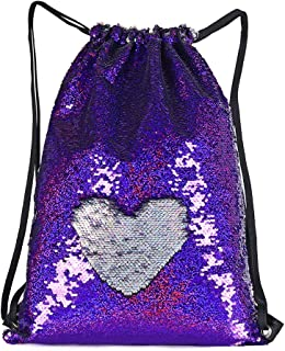 WOYYHO Mermaid Reversible Sequin Bags Purse for Girls, Flip Sparkle Sequin Duffel Bag Drawstring Backpack Suitable for Tra...