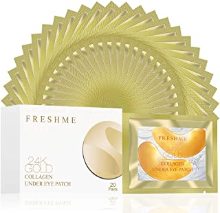 Best Under Eye Patches - FRESHME 24K Gold Collagen Mask Allantoin Gel Treatment Masks for Hydration Puffiness Smoothing Dark Circles Review