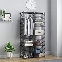 KOUSI Closet Wardrobe 8 Wire Shelf Shelving Unit Black Metal Shelving Unit Cube Wire Storage Wire Grid Modular Metal Cubbies Organize Origami Storage Products, Capacious Customizable Black