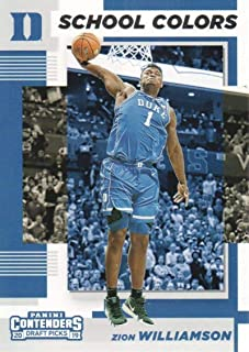 2019-20 Contenders Draft Picks School Colors #1 Zion Williamson Duke Blue Devils Official Panini NCAA Collegiate Basketball Card (any streak on scan is NOT on the card)