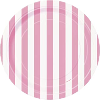 Light Pink Striped Paper Cake Plates, 8ct