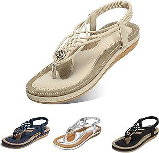gracosy Sandales Plates Femmes, Chaussures Été Confortable à Talons Plats Nu Pieds Mode Tongs Plages Claquettes Semelle Ma...