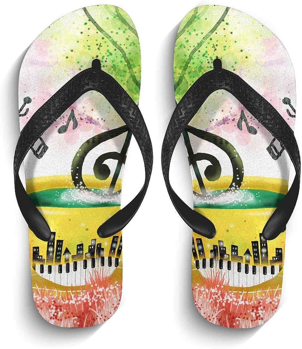 INTERESTPRINT Men's Non-Slip Flip Flop Slippers Monochrome Pattern Beach Thong Sandal